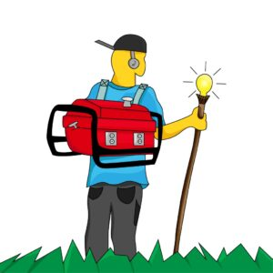 man with a generator on his back